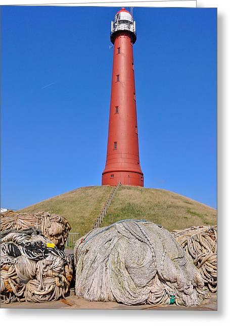 Ijmuiden Lighthouse Greeting Cards - Lighthouse IJmuiden Netherlands Greeting Card by Ruud Morijn