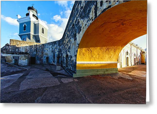 Old San Juan Greeting Cards - Lighthouse in Fort El Morro Greeting Card by George Oze