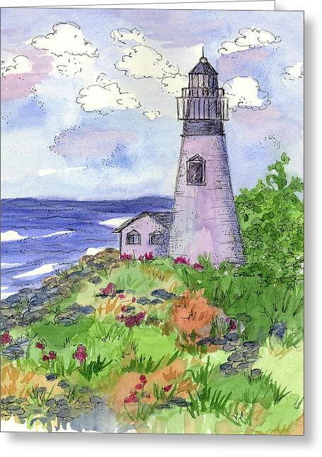 Atlantic Beaches Drawings Greeting Cards - Lighthouse in Summer  Greeting Card by Cathie Richardson