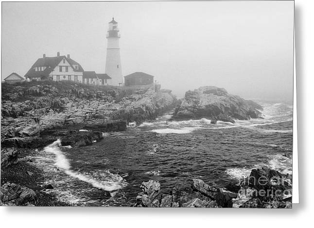 Foggy Beach Greeting Cards - Lighthouse in the fog - black and white Greeting Card by Hideaki Sakurai