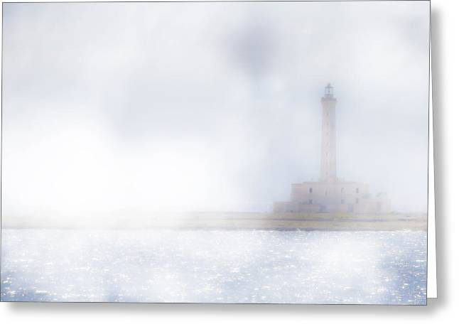 Lighthouse Tower Greeting Cards - Lighthouse in the fog Greeting Card by Joana Kruse