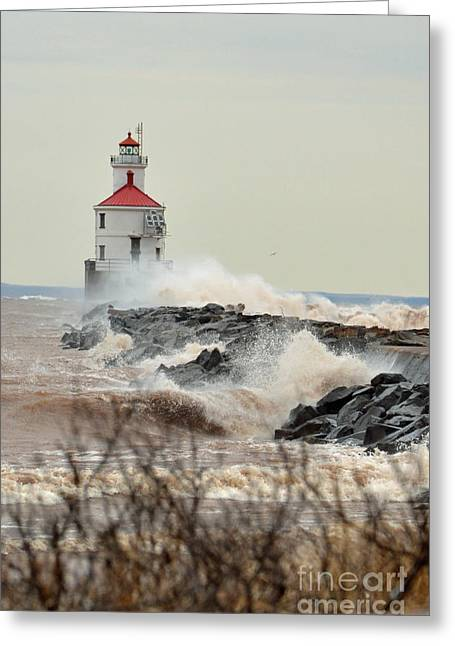 Misty. Pyrography Greeting Cards - Lighthouse in the storm Greeting Card by Whispering Feather Gallery