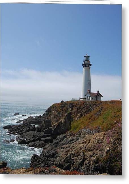 Santa Cruz Art Greeting Cards - Lighthouse looking over Pacific Greeting Card by James Harper