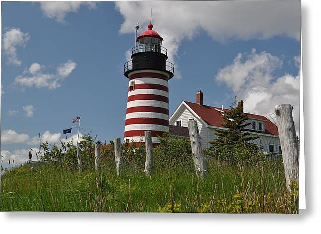 Jeff Moose Greeting Cards - Lighthouse Lubec Maine Greeting Card by Jeff Moose