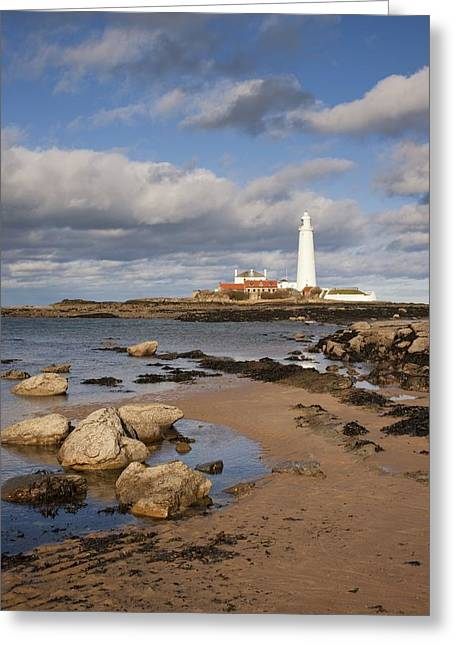 Ground Level Greeting Cards - Lighthouse, Northhumberland, England Greeting Card by John Short