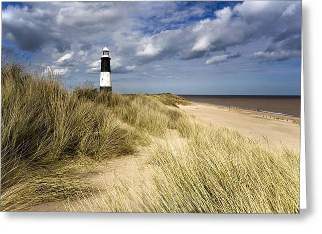 Sandy Beaches Greeting Cards - Lighthouse On Beach, Humberside, England Greeting Card by John Short