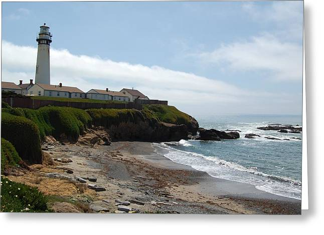 Ocean Art Photography Greeting Cards - Lighthouse on beach Greeting Card by James Harper