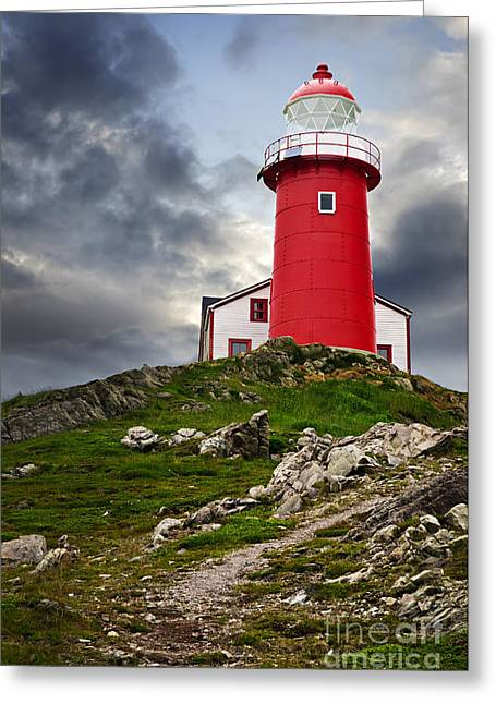Coastal Lighthouses Greeting Cards - Lighthouse on hill Greeting Card by Elena Elisseeva