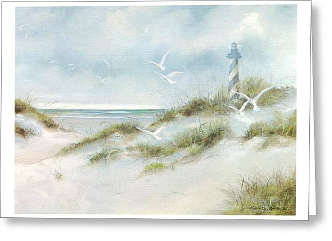 Sand Dunes Paintings Greeting Cards - Lighthouse on the Beach Greeting Card by Charles Roy Smith