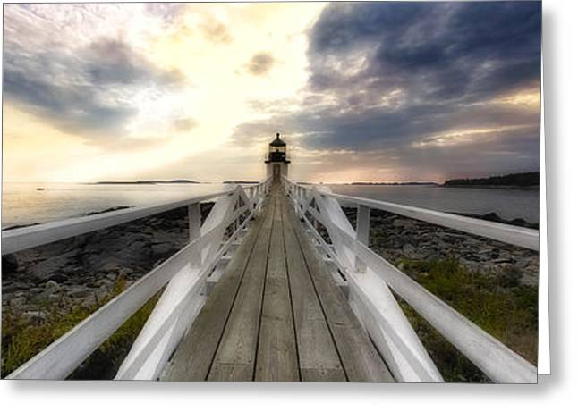 Maine Lighthouses Greeting Cards - Lighthouse Perspective Greeting Card by George Oze