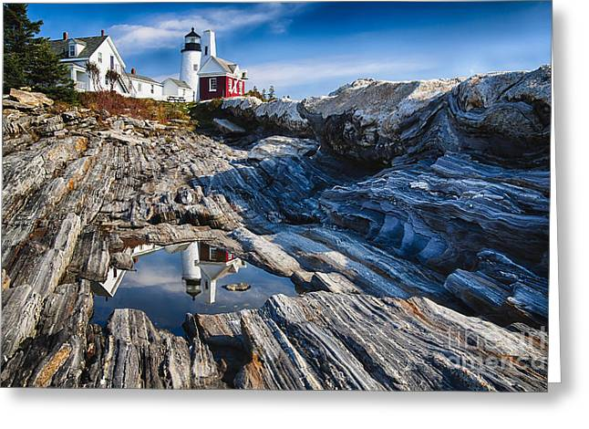 Rocks. Tidal Pool Greeting Cards - Lighthouse Reflections Greeting Card by George Oze