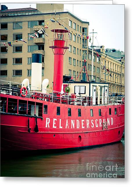 Helsinki Finland Greeting Cards - Lighthouse Ship Greeting Card by Andy Smy