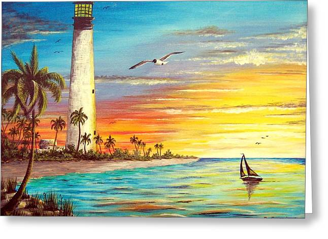 Yellow Sailboats Mixed Media Greeting Cards - Lighthouse Sunrise Greeting Card by Riley Geddings