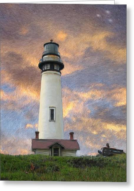 Landscape Mixed Media Greeting Cards - Lighthouse visitors Greeting Card by Snake Jagger