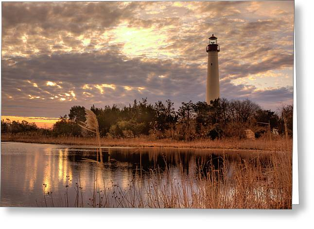 Pond In Park Greeting Cards - Lighthouse Winter Sunrise Greeting Card by Tom Singleton