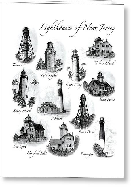 Sandy Beaches Drawings Greeting Cards - Lighthouses of New Jersey Greeting Card by Greg DiNapoli