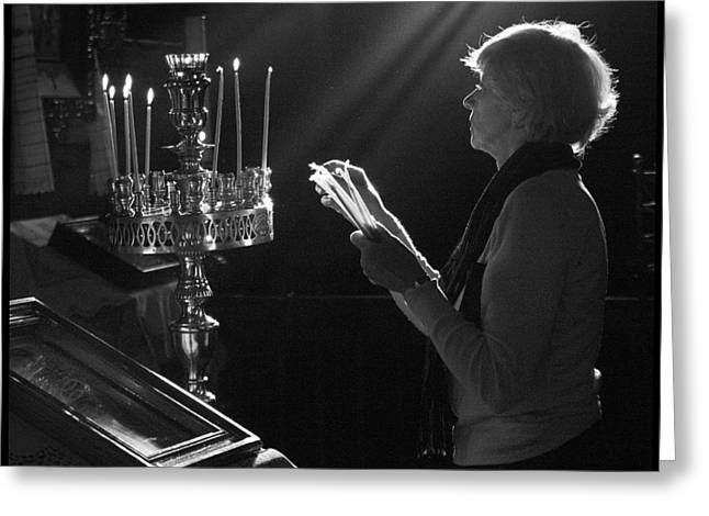 Lighting a prayer 1 Greeting Card by Julia Bridget Hayes