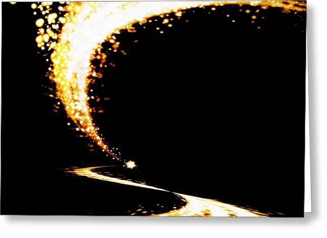 Abstract Waves Greeting Cards - Lighting Explosion Greeting Card by Setsiri Silapasuwanchai