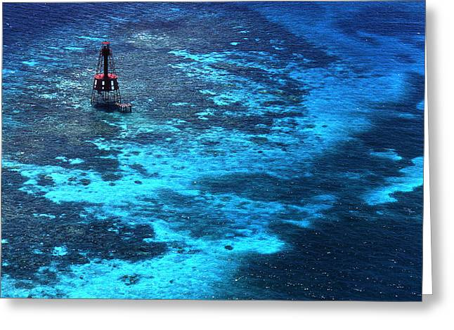 Legendary Lighthouses Greeting Cards - Lighting The Reef Greeting Card by Skip Willits