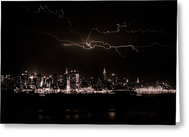 Gotham City Greeting Cards - Lighting the Sky Greeting Card by David Hahn