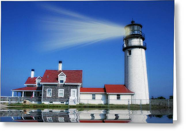Seaside Digital Art Greeting Cards - Lighting the Way Greeting Card by Gina Cormier