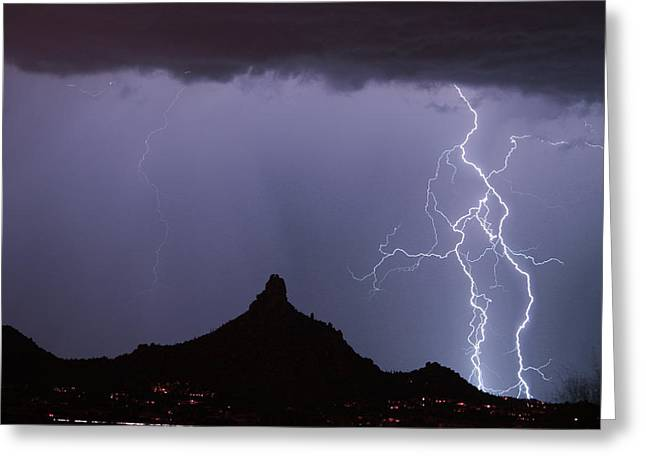 Pinnacle Peak Greeting Cards - Lightnin at Pinnacle Peak Scottsdale Arizona Greeting Card by James BO  Insogna
