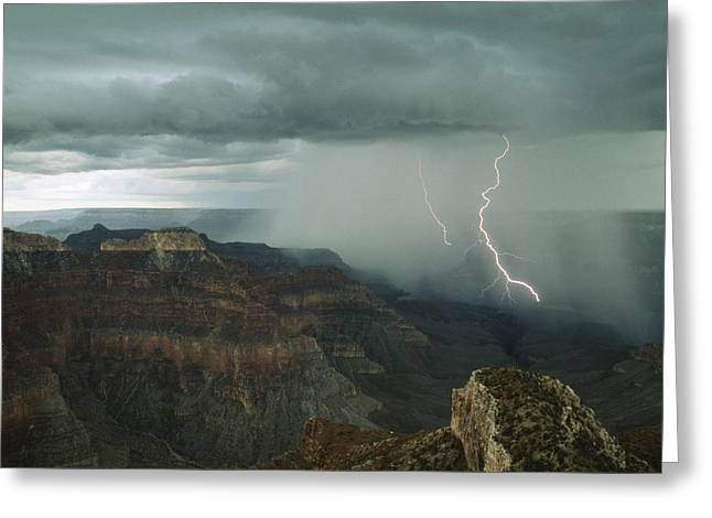 Arizona Lightning Greeting Cards - Lightning Arcs Into The Grand Canyons Greeting Card by Michael Nichols