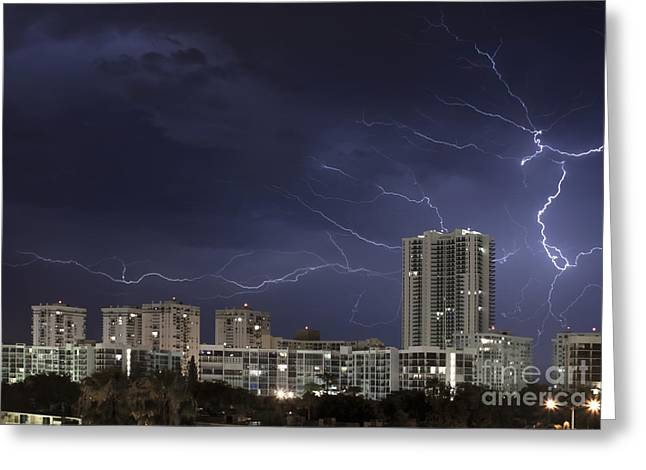 Flash Greeting Cards - Lightning bolt in sky Greeting Card by Blink Images