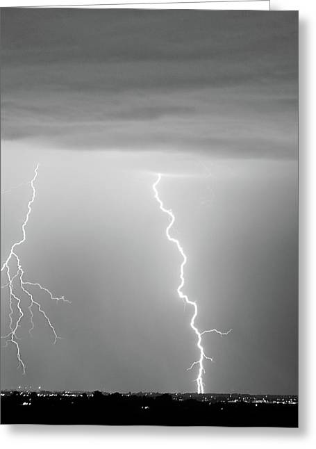 The Lightning Man Greeting Cards - Lightning Bolt With a Fork BW Greeting Card by James BO  Insogna