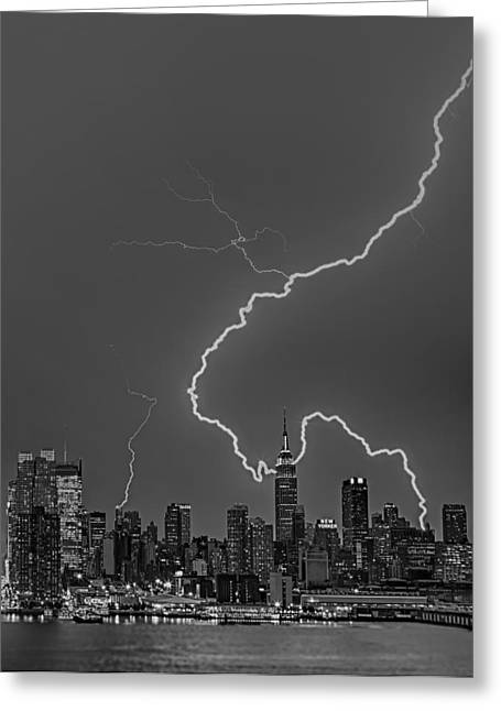 Lightning Bolts Over New York City Bw Greeting Card by Susan Candelario