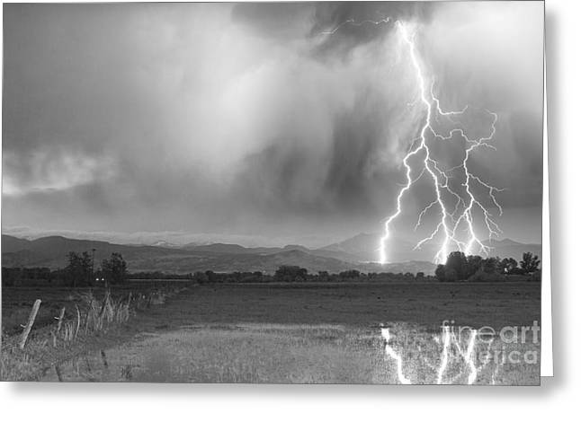 Images Lightning Greeting Cards - Lightning Bolts Striking Longs Peak Foothills 6BW  Greeting Card by James BO  Insogna