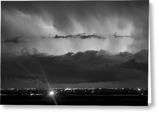 The Lightning Man Greeting Cards - Lightning Cloud Burst Black and white Greeting Card by James BO  Insogna