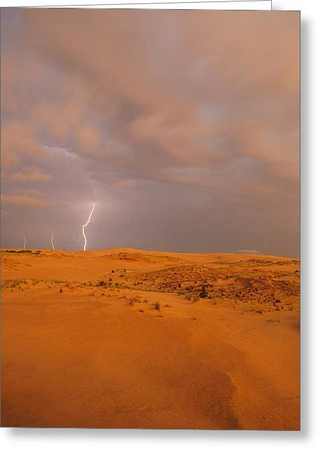 Refuges And Reserves Greeting Cards - Lightning Flashes Above A Sand Dune Greeting Card by Skip Brown