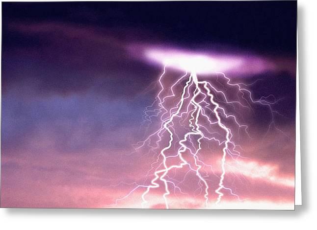 """lightning Strike"" Greeting Cards - Lightning Greeting Card by Geoff Tompkinson"