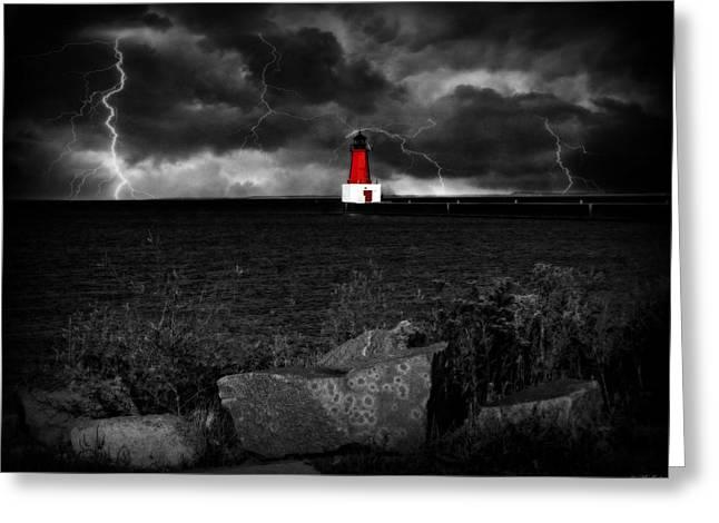 Lightning Strike Mixed Media Greeting Cards - Lightning House Greeting Card by Ms Judi