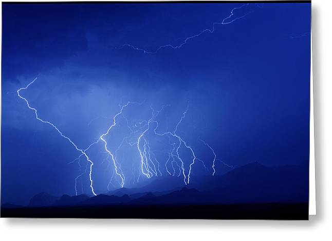 Electrical Storm Greeting Cards - Lightning Near Tucson, Usa Greeting Card by Keith Kent