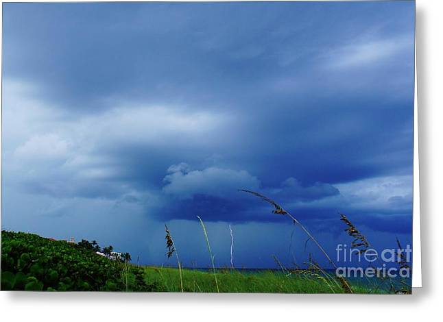 Lightning Photographer Greeting Cards - Lightning Off Shore Greeting Card by Lynda Dawson-Youngclaus