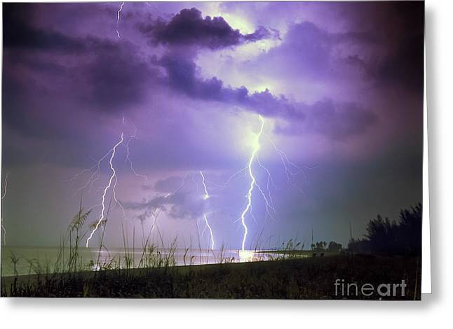 Photography Lightning Greeting Cards - Lightning over Florida Greeting Card by Keith Kapple