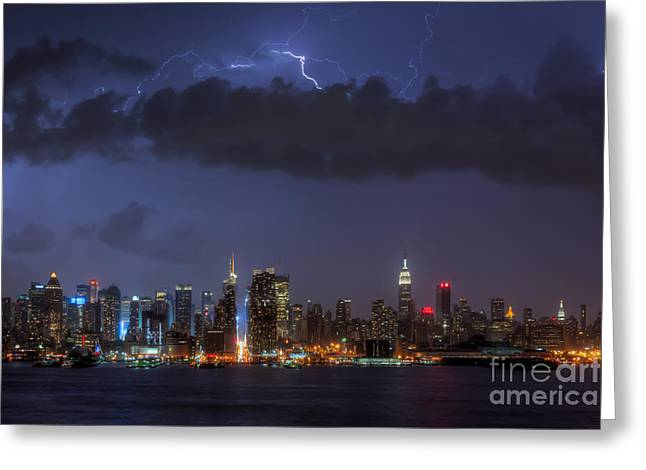 Electrical Storm Greeting Cards - Lightning Over New York City I Greeting Card by Clarence Holmes