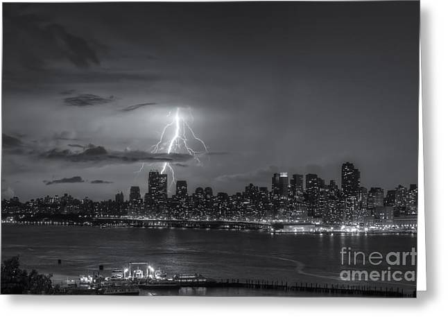 Electrical Storm Greeting Cards - Lightning Over New York City VI Greeting Card by Clarence Holmes