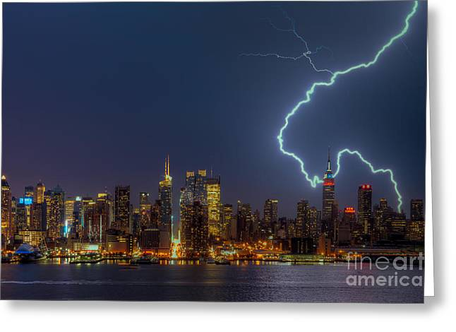 North Fork Greeting Cards - Lightning Over New York City VII Greeting Card by Clarence Holmes
