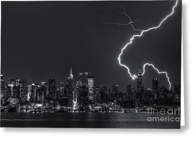 North Fork Greeting Cards - Lightning Over New York City VIII Greeting Card by Clarence Holmes