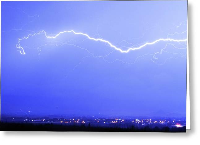 Lightning Bolt Pictures Photographs Greeting Cards - Lightning Over North Boulder Colorado - Cropped Greeting Card by James BO  Insogna