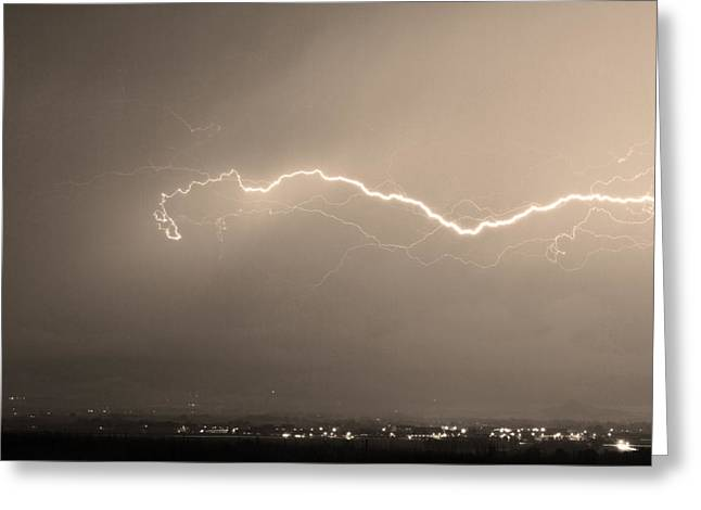 Lightning Bolt Pictures Photographs Greeting Cards - Lightning Over North Boulder Colorado  IBM Sepia Greeting Card by James BO  Insogna
