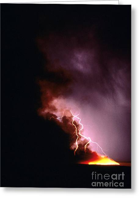 Forest At Night Greeting Cards - Lightning Starts a Fire Greeting Card by David R Frazier and Photo Researchers
