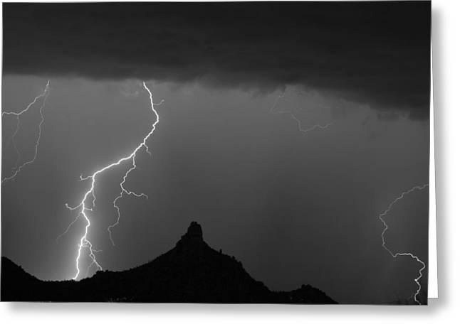 Pinnacle Peak Greeting Cards - Lightning Storm At Pinnacle Peak Scottsdale AZ BW Greeting Card by James BO  Insogna