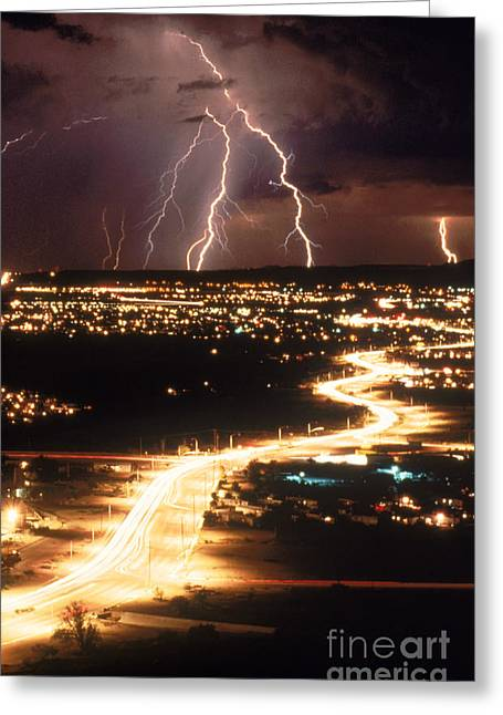 Lightning Strike Greeting Cards - Lightning Storm Greeting Card by Kent Wood and Photo Researchers