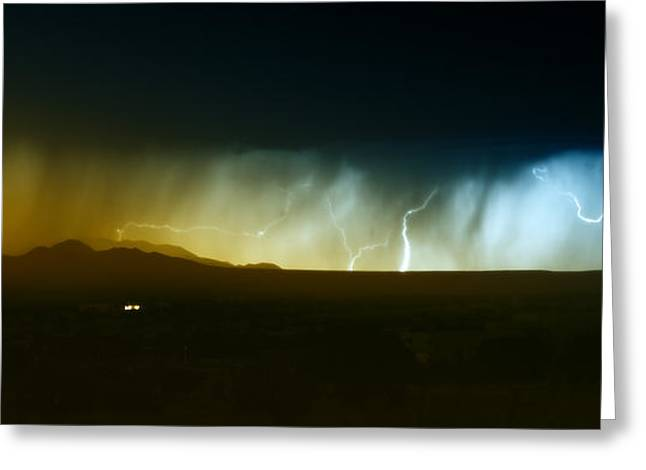 Images Lightning Greeting Cards - Lightning Storm Over Northern New Greeting Card by Roth Ritter
