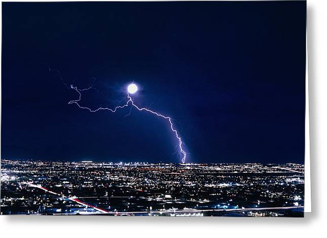 Electrical Storm Greeting Cards - Lightning Strike At Night In Tucson, Arizona, Usa Greeting Card by Keith Kent