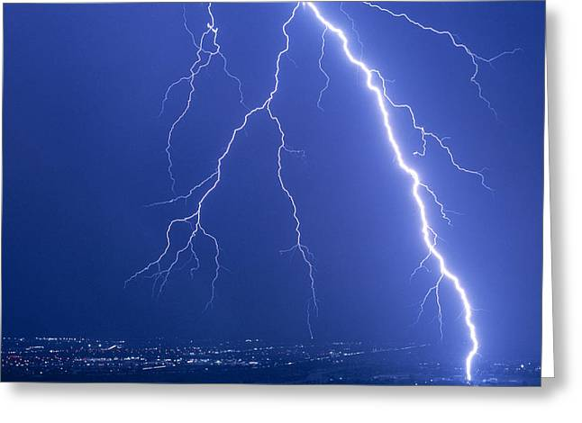 Electrical Storm Greeting Cards - Lightning Strike At Night Near Phoenix, Usa Greeting Card by Keith Kent